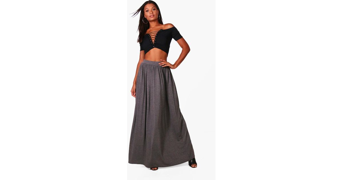 38247d182b Boohoo Sophia Floor Sweeping Basic Maxi Skirt in Gray - Lyst