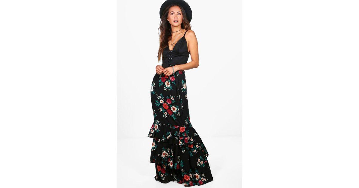5fec8f69c5a30 Lyst - Boohoo Lola Ruffle Hem Floral Woven Maxi Skirt in Black