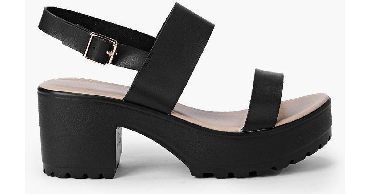 b87f2b34da0d Lyst - Boohoo Two Part Cleated Sandals in Black