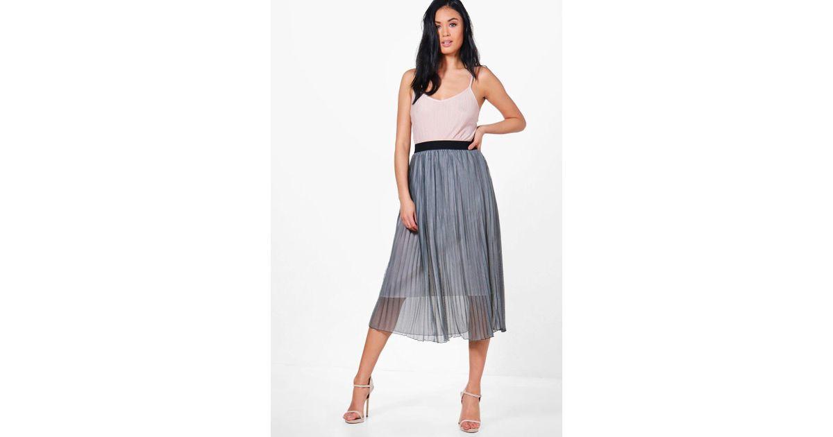 aae4c63193 Boohoo Sofia Boutique Tulle Full Midi Skirt in Gray - Lyst