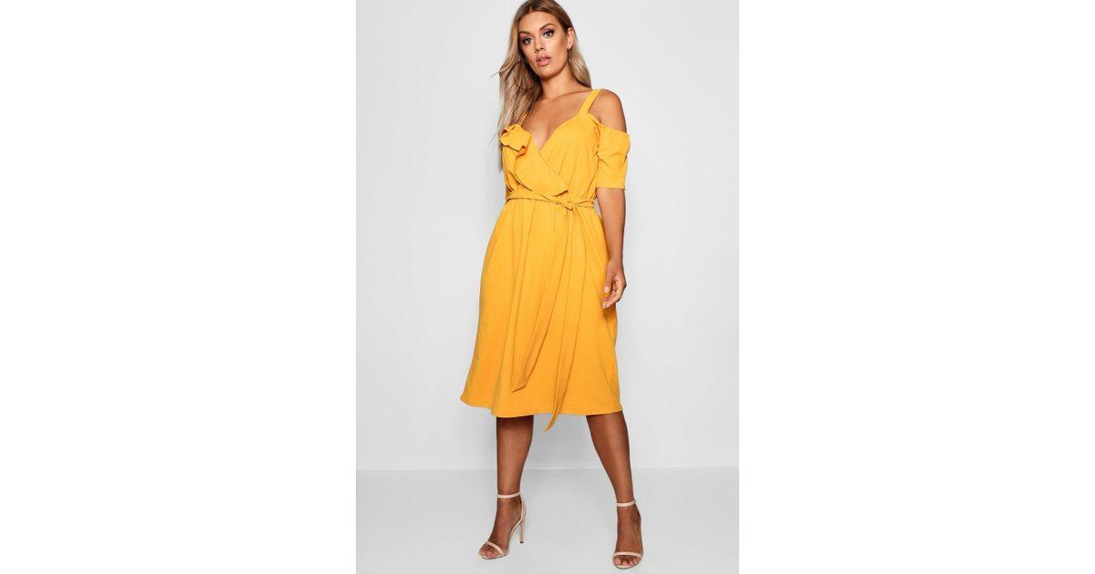 b6ef0bcfb266 Lyst - Boohoo Plus Plunge Ruffle Belt Midi Dress in Yellow