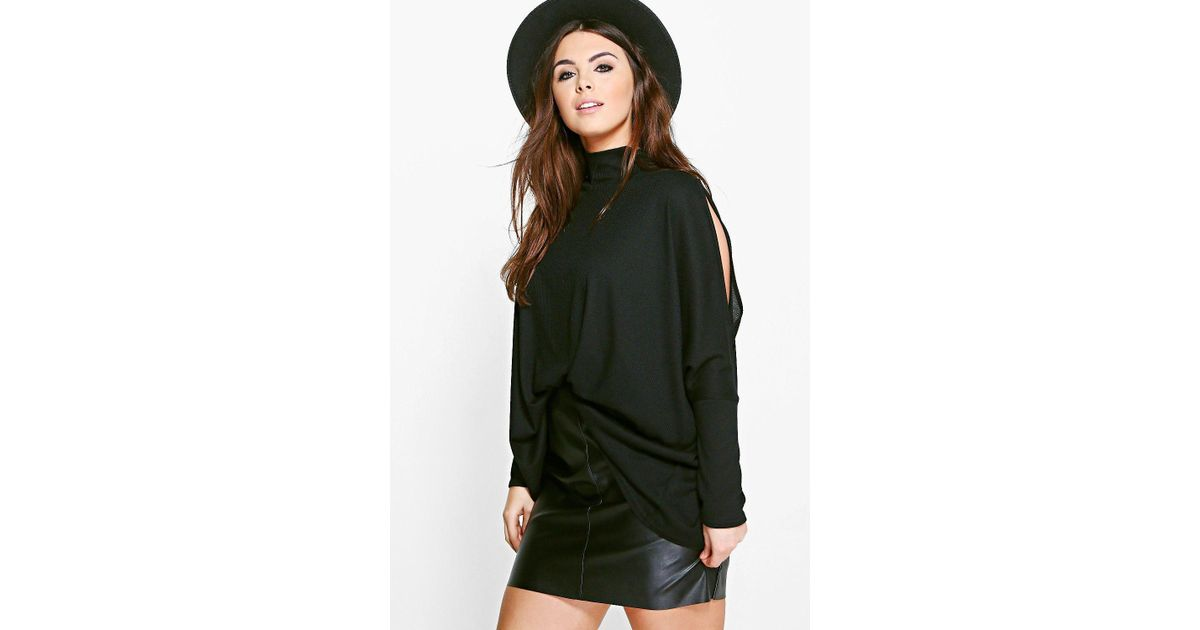72be47db63740 Boohoo Plus Alicia High Neck Cold Shoulder Batwing Top in Black - Lyst