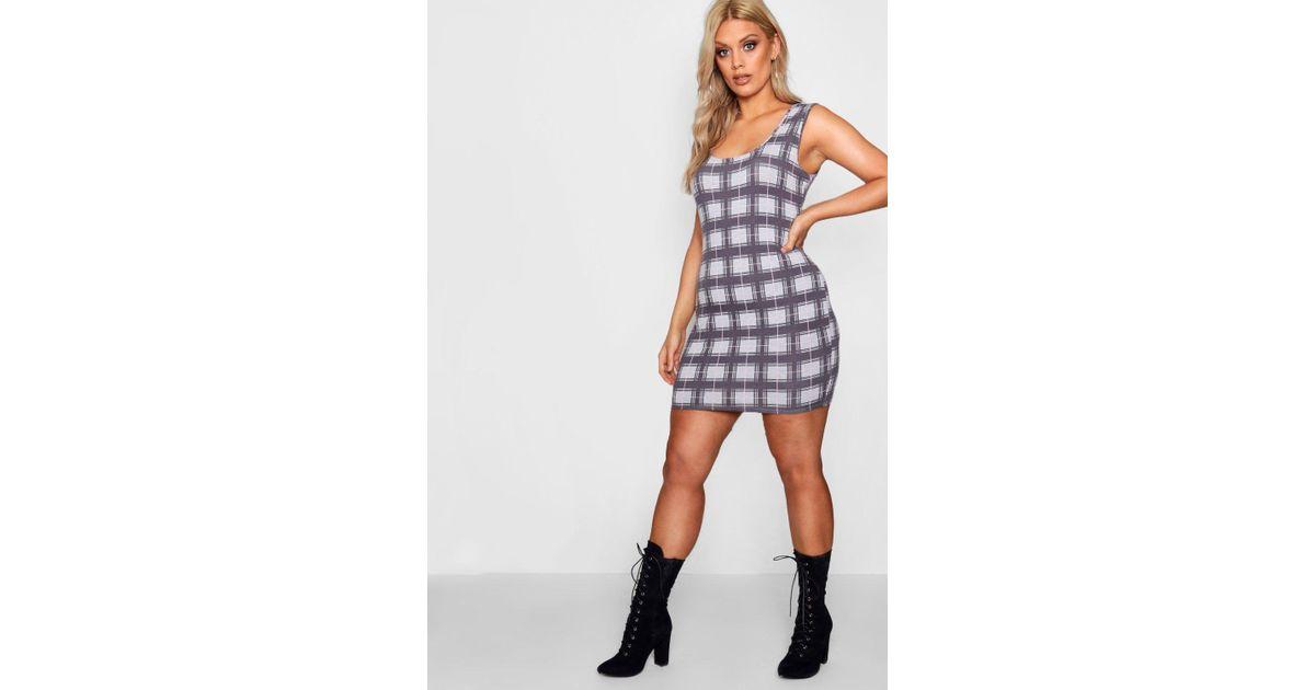 d1b8d33187 Boohoo Plus Square Neck Check Bodycon Dress - Lyst