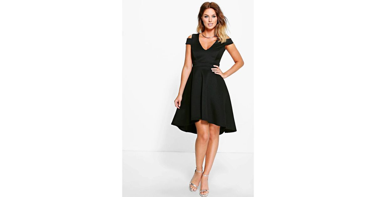 388419200b7b Lyst - Boohoo Clea Bardot Plunge High Skater Dress in Black