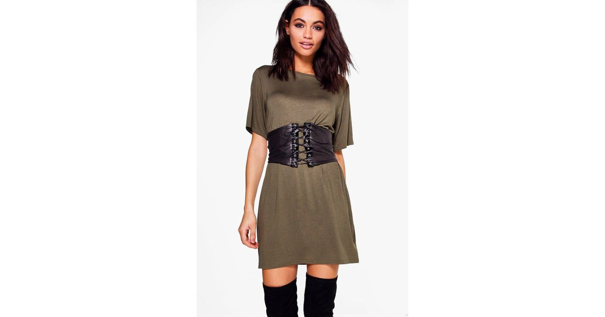 439b3c899c46 Boohoo 2 In 1 Corset Belt T-shirt Dress - Lyst