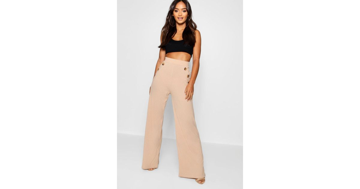 591675c56b58 Boohoo Petite Mock Horn Button Rib Wide Leg Pants - Lyst
