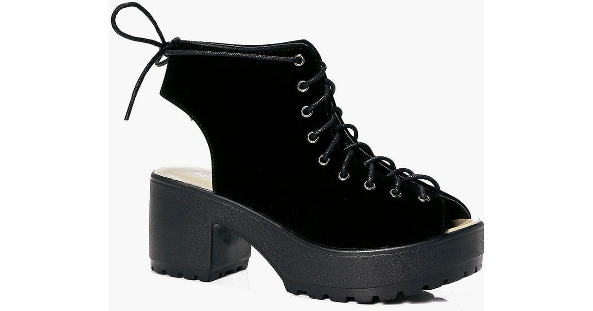 boohoo violet peeptoe lace up cleated shoe boot in black