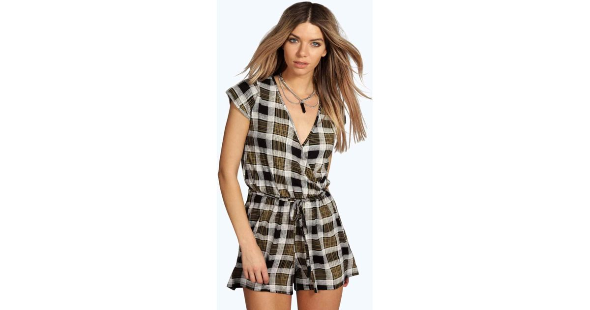f2003c4c88b Lyst - Boohoo Sophie Checked Cap Sleeve Wrap Front Playsuit in Black