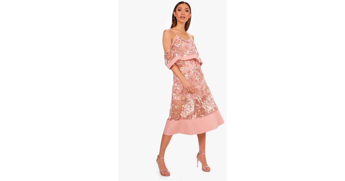 2965de7e6ae2 Boohoo Boutique Floral Organza Frill Top Midi Dress in Pink - Lyst