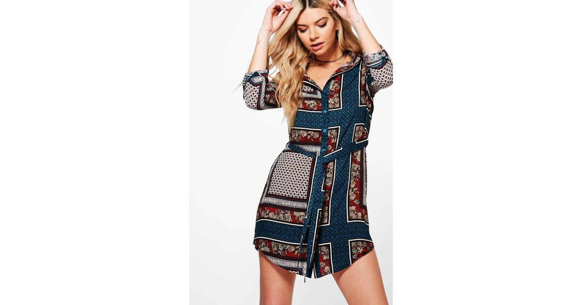 aa15c3525646a Lyst - Boohoo Philly Paisley Border Print Shirt Dress in Blue