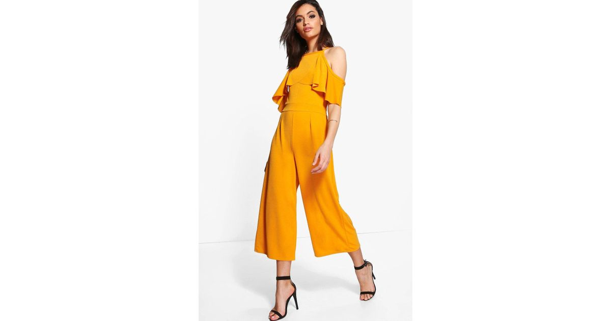 d6cdd0485406 Boohoo Open Shoulder Frill Detail Culotte Jumpsuit in Yellow - Lyst