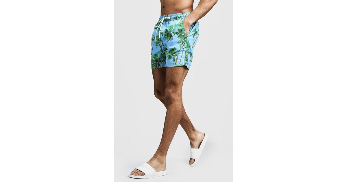 0f9d921927 Lyst - Boohoo Mid Length Palm Tree Print Swim Short for Men