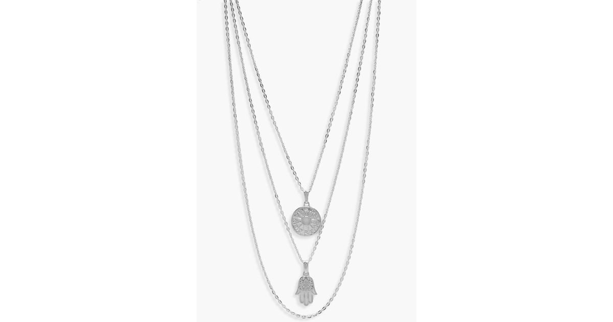 wanelo hand shop necklace on silver opal with delicate hamsa