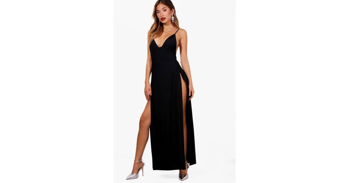25fe895543 Boohoo Ray Plunge Neck Super High Split Maxi Dress in Black - Lyst