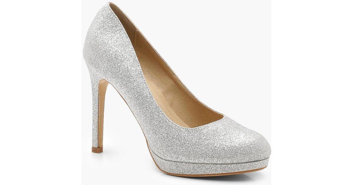449835c48fd Lyst - Boohoo Platform Court Shoes in Metallic