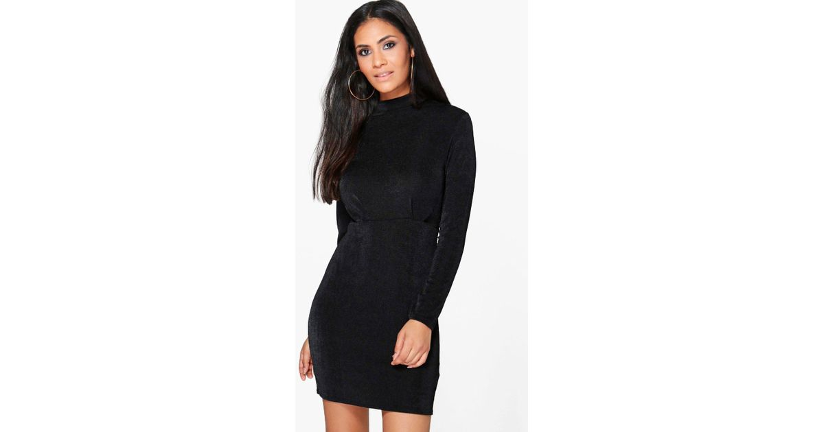 4523bcd771 Lyst - Boohoo Jacqueline High Neck Midi Dress in Black