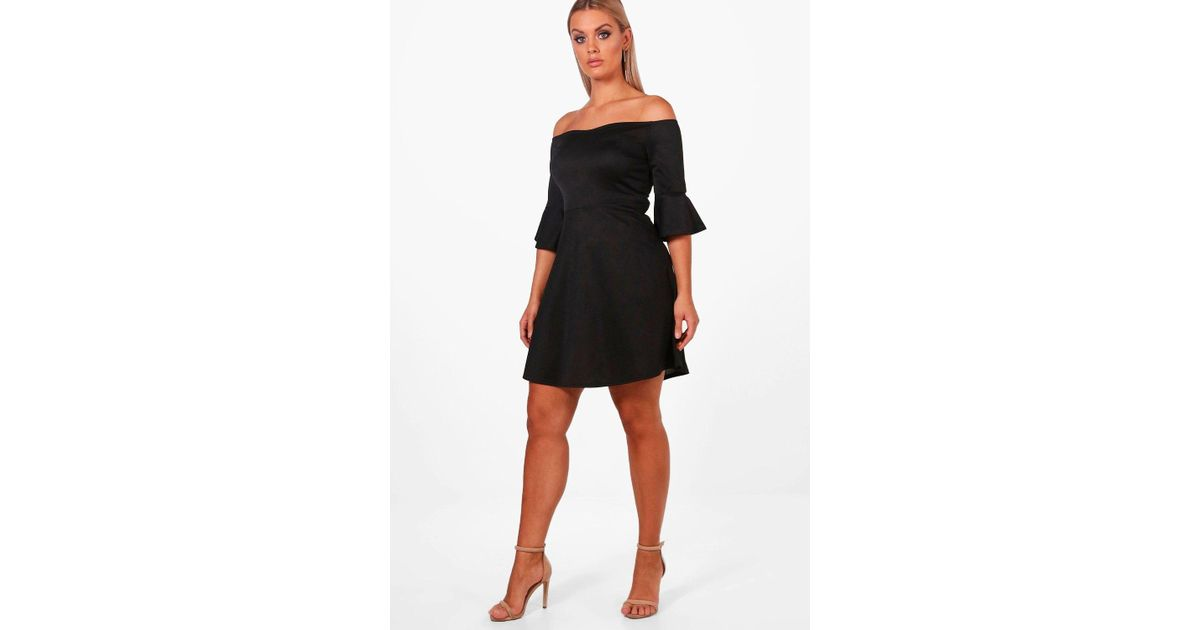 31c568fd3f49 Lyst - Boohoo Plus Off The Shoulder Ruffle Skater Dress in Black