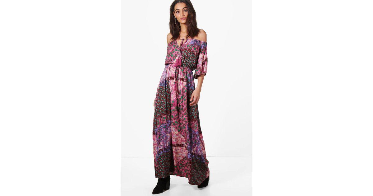 50feb98ae856 Lyst - Boohoo Evelyn Paisley Angel Sleeve Maxi Dress