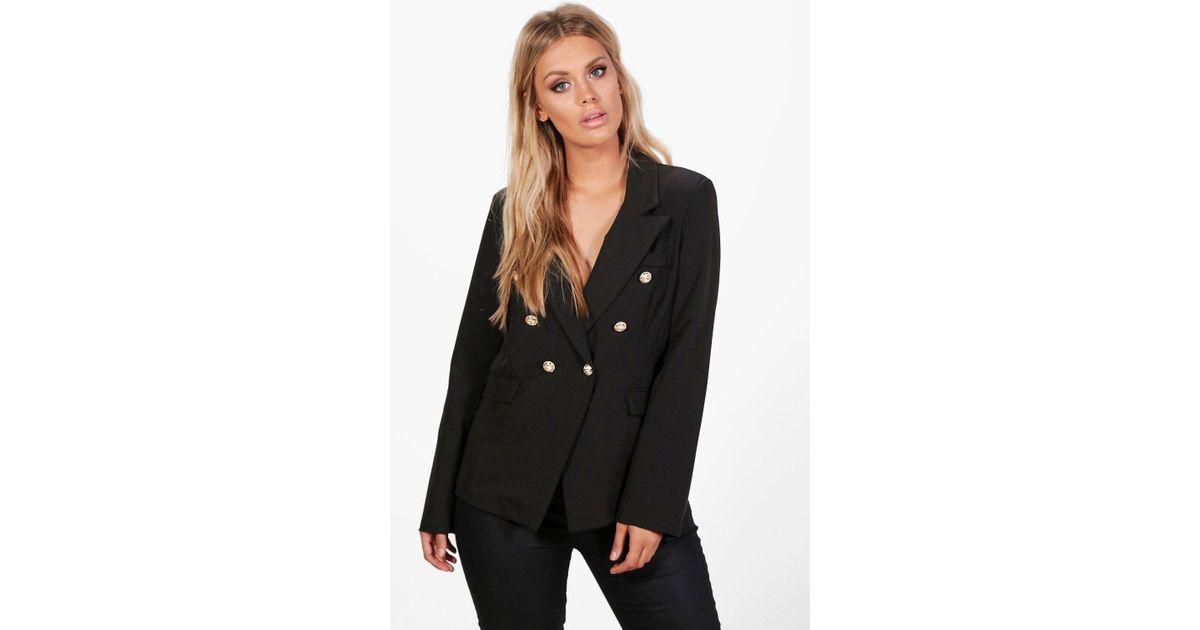 a83e8ff8ff3 Boohoo Plus Joanne Button Detail Blazer in Black - Lyst
