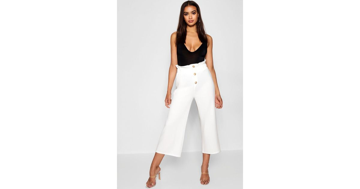 91ef6b082b79 Boohoo Crepe Mock Horn Button Paperbag Trouser in White - Lyst