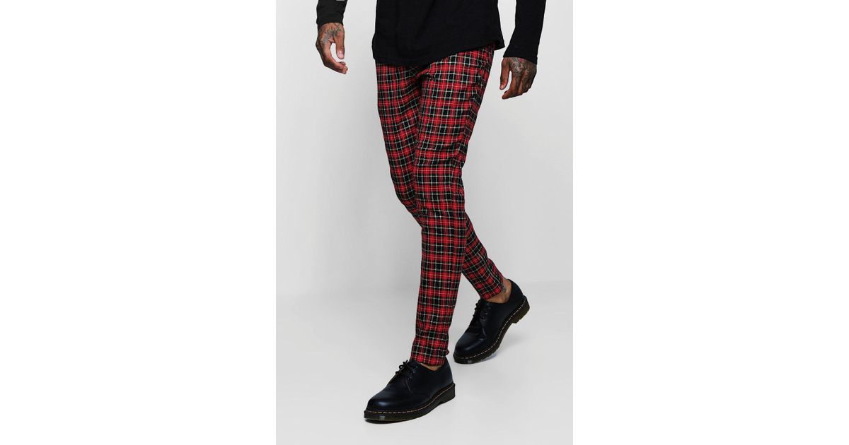 5607611331fa BoohooMAN Tartan Smart Trouser With Zip Ankle Detail in Red for Men - Lyst