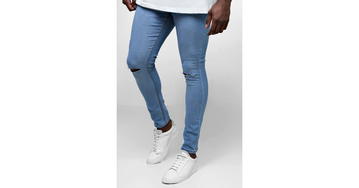 bf6a4237455d Lyst - BoohooMAN Big And Tall Ripped Knee Skinny Fit Jeans in Blue for Men