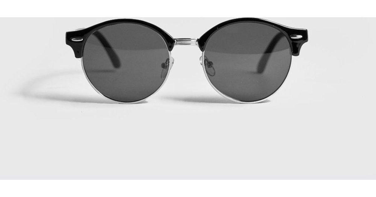 Lyst Round For Boohooman Lens Black Retro Sunglasses Men fYgby6vI7