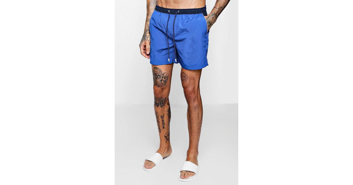 2570abe5a8 Boohoo Colour Block Mid Length Swim Short in Blue for Men - Lyst