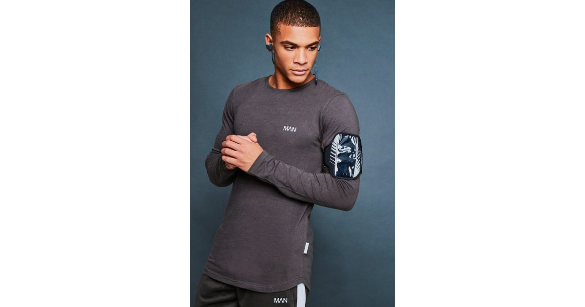 f5c13b85c Boohoo Muscle Fit Long Sleeve Reflective Print Tee in Gray for Men - Lyst