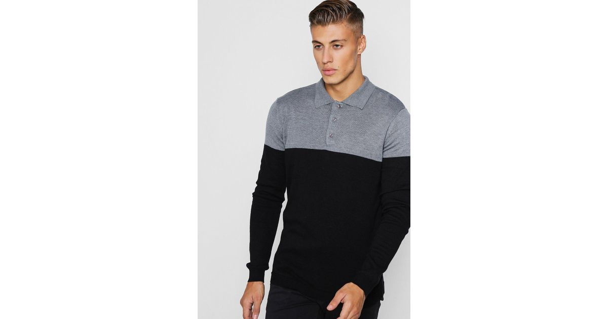 9e243969 Lyst - Boohoo Slim Fit Colour Block Knitted Long Sleeve Polo in Black for  Men
