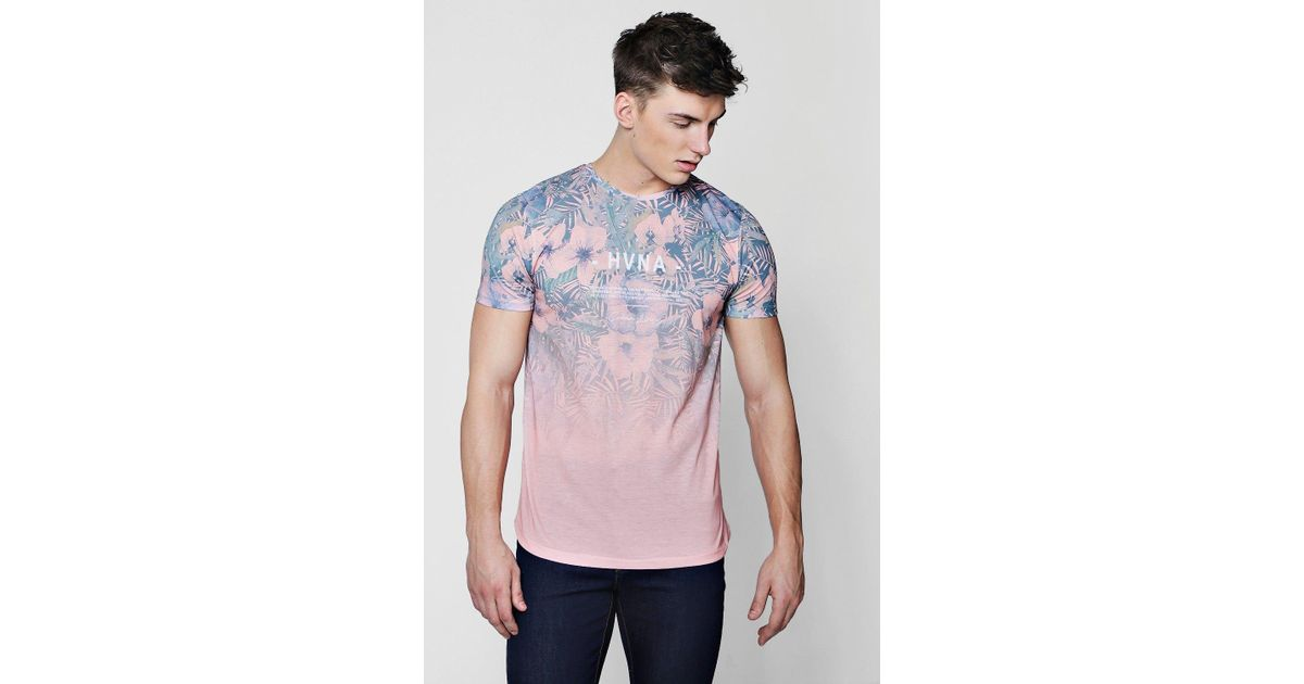 0900ecd53b4 Lyst - Boohoo Floral Faded Curved Hem Sublimation T-shirt in Pink for Men