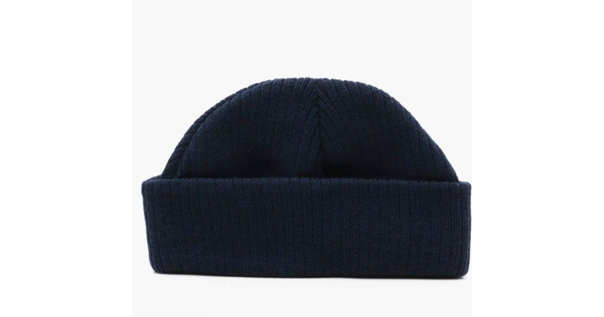 Lyst - Boohoo Ribbed Knit Short Fit Beanie With Turn Up in Blue for Men 15c188622f9