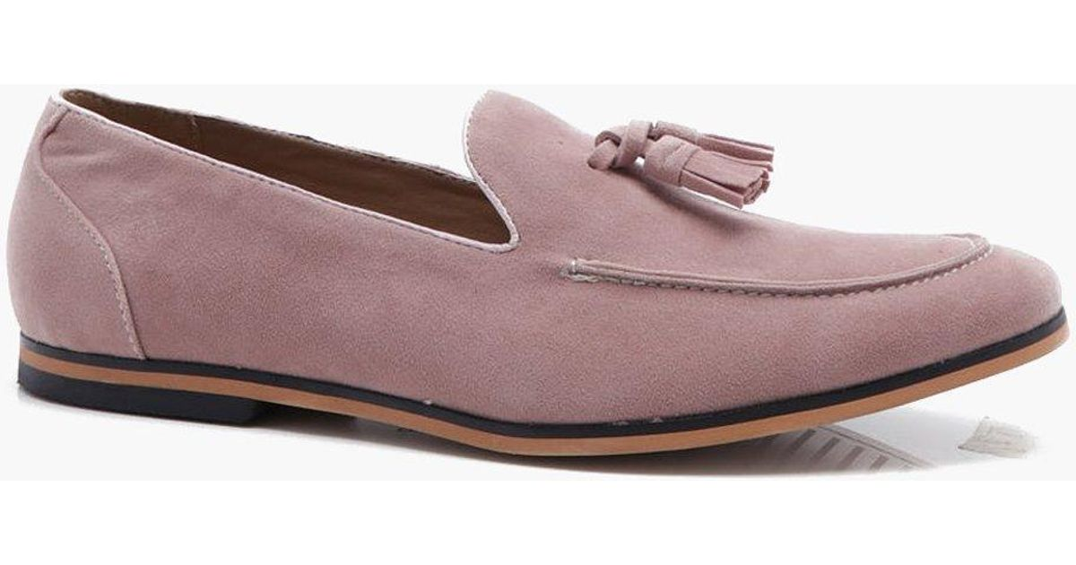 57a14112e54 Lyst - Boohoo Faux Suede Tassel Loafer in Pink for Men