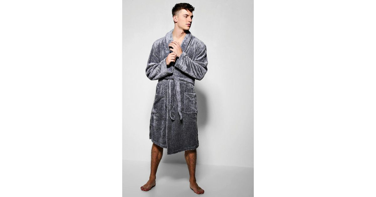 85e946d127ad Lyst - Boohoo Charcoal Fleece Dressing Gown in Gray for Men