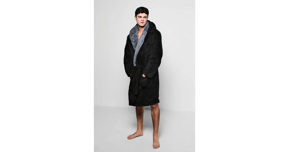 b03217dfe2c9 Lyst - Boohoo Hooded Fleece Robe With Contrast Lapel in Black for Men