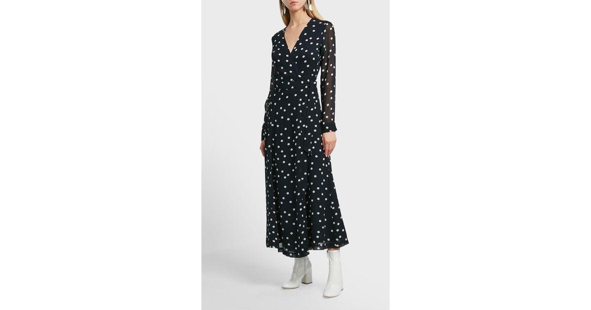 a04b757d Ganni Marceau Printed Wrap Dress in Black - Lyst