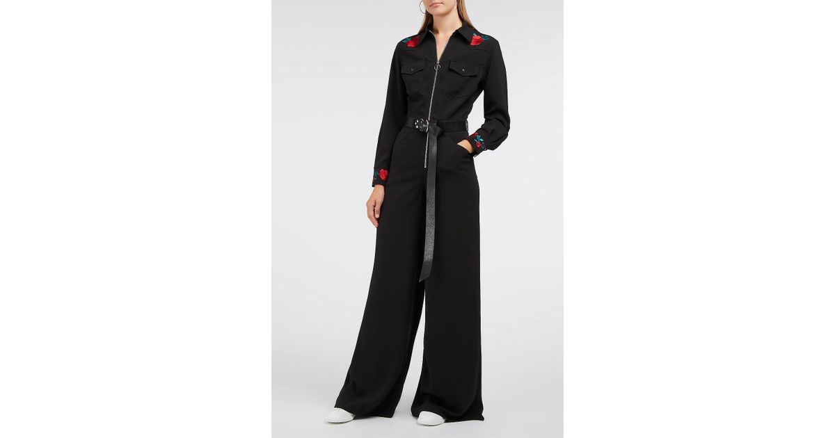 3ae7e52e9c95 Adam Selman Embroidered Cady Jumpsuit in Black - Lyst