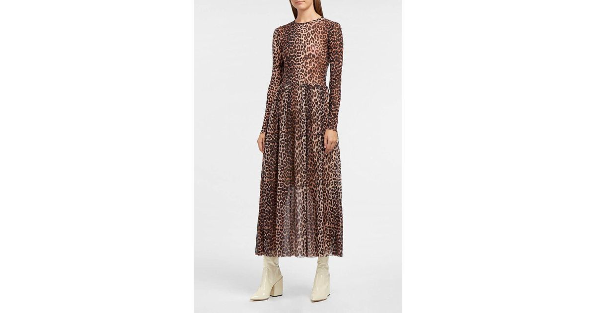95b6a24d0d2a Ganni Tilden Leopard-print Stretch-mesh Dress in Brown - Lyst