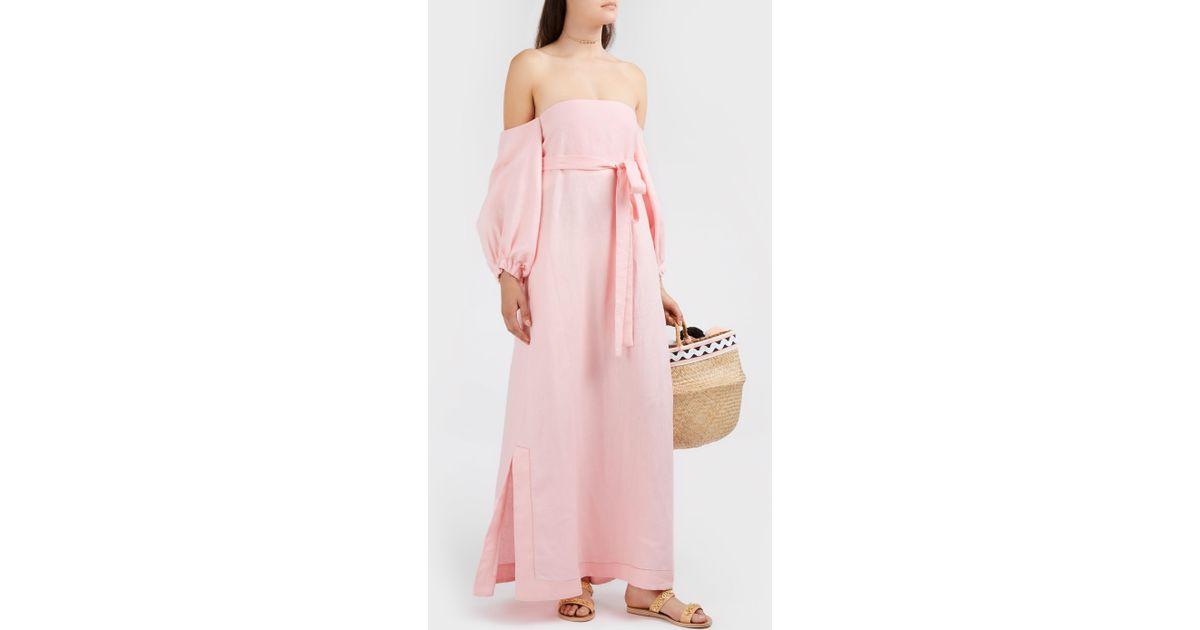 e317b39929 Lisa Marie Fernandez Rosie Off-the-shoulder Linen Maxi Dress in Pink - Lyst