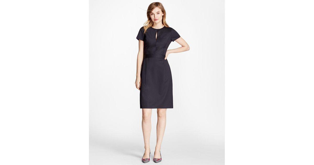 bc14d6c67e Lyst - Brooks Brothers Pinstripe Stretch Wool Dress in Blue