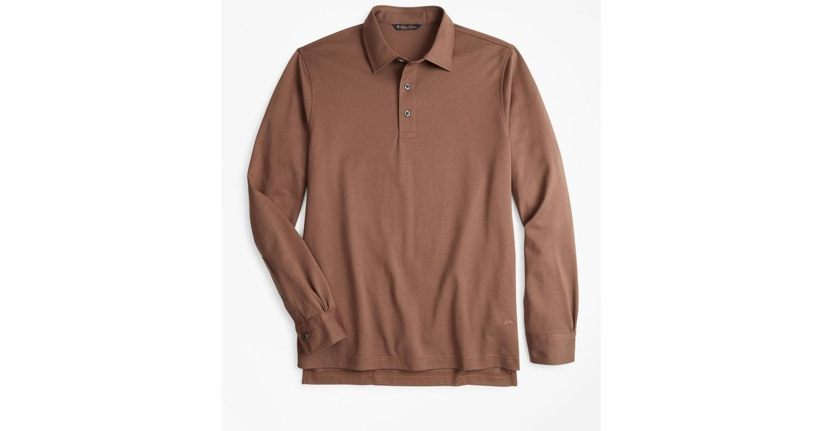 62e5bda1e Lyst - Brooks Brothers Supima Cotton Long-sleeve Polo Shirt in Brown for Men