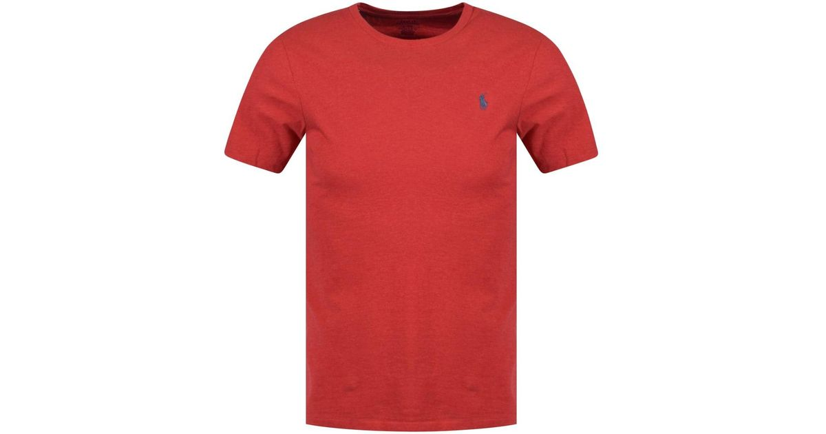 f4453d7cd90b9 Polo Ralph Lauren Red Heather Crew Neck T-shirt in Red for Men - Lyst