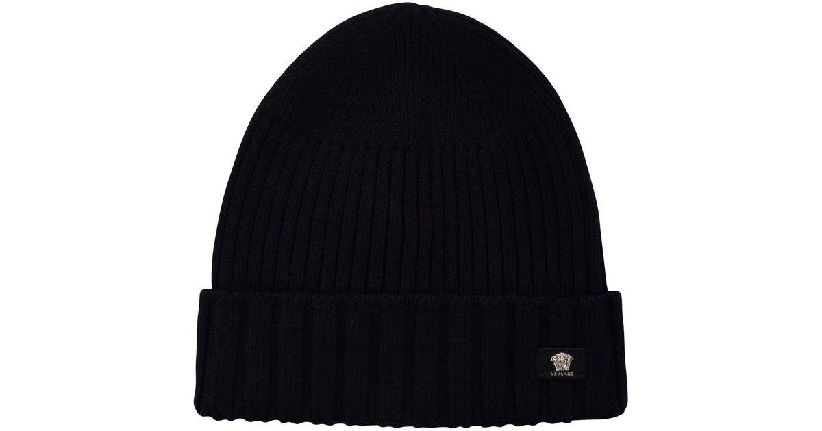 e3da3ac82ddb Lyst - Versace Versace Black Ribbed Beanie Hat in Black for Men
