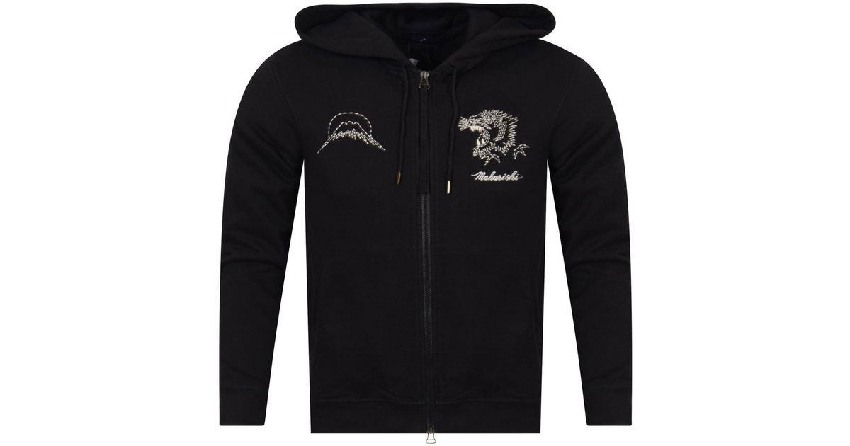 Lyst - Maharishi Black Tiger Stitched Hoodie in Black for Men 82dd7f8e1