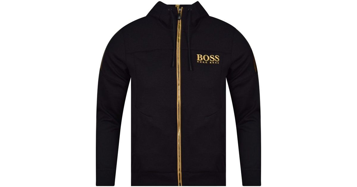 f83a97074bc4 BOSS Black gold Logo Hoodie in Black for Men - Lyst