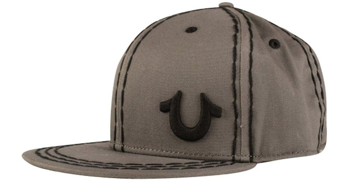8124a0fae8c93 Lyst - True Religion Grey Big Stitch Strapback in Gray for Men