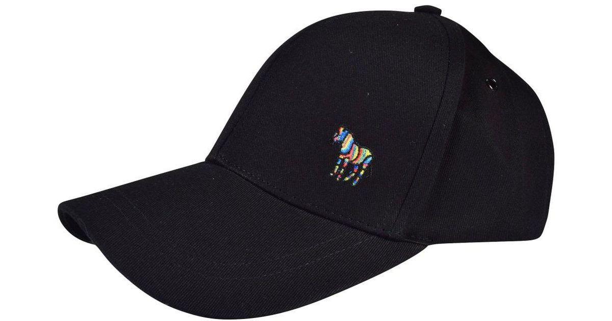 4627556674d Ps By Paul Smith Black Ps Zebra Baseball Cap in Black for Men - Lyst