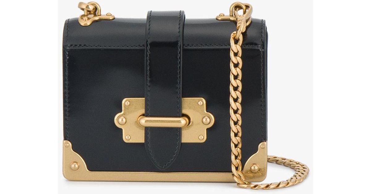 b965383aecb2ab Prada Patent Leather Micro Cahier Box Bag in Black - Lyst