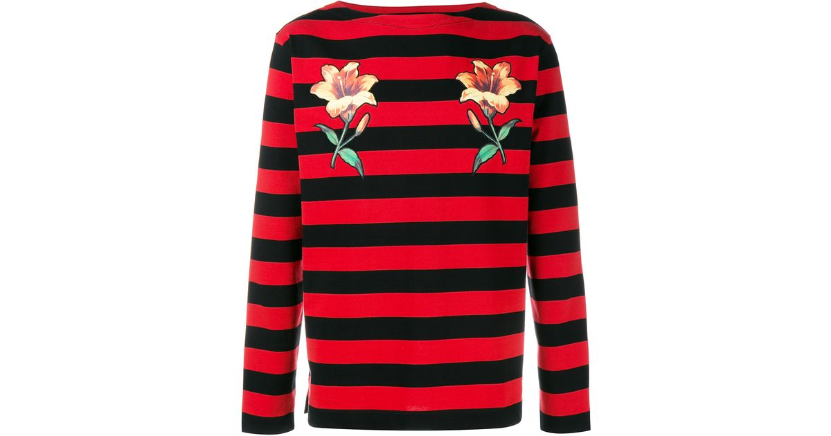 Gucci Floral Embroidered Striped Long Sleeve T Shirt In