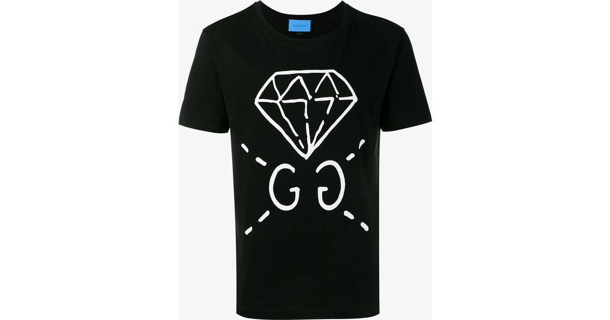 1338d5c0f0df Gucci Diamond Printed Cotton Jersey T-shirt in Black for Men - Lyst